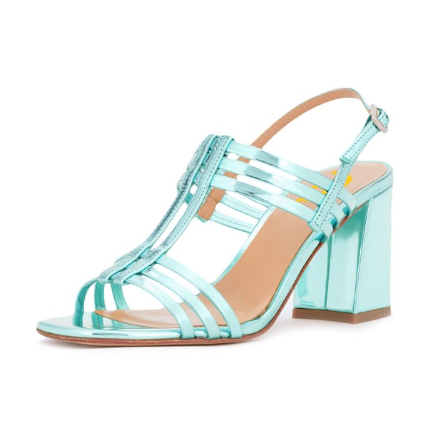 Women's Turquoise Caged Slingback Block Heel Sandals image 1