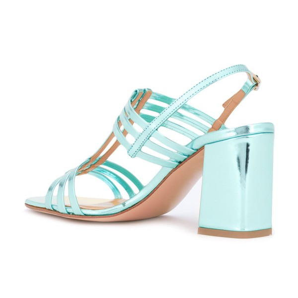 Women's Turquoise Caged Slingback Block Heel Sandals image 3