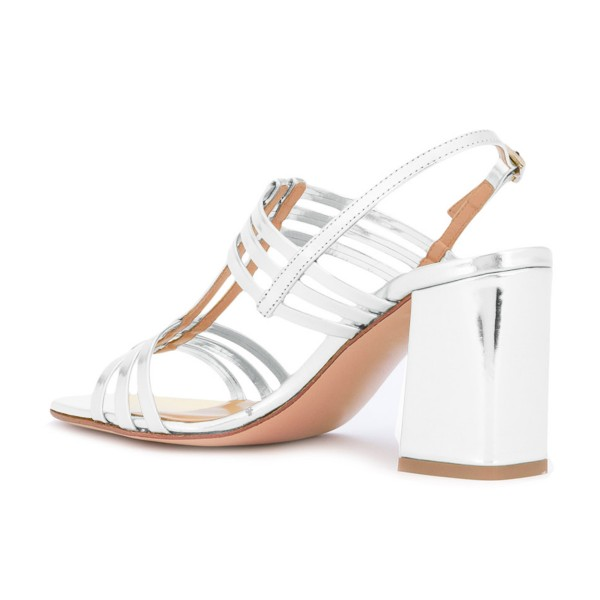 Women's White Caged Slingback Block Heel Sandals image 3
