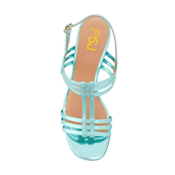 Women's Turquoise Caged Slingback Block Heel Sandals image 4
