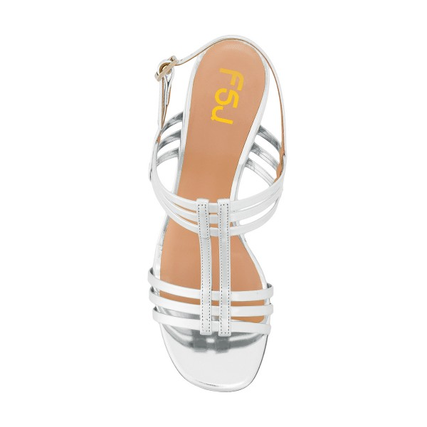 Women's White Caged Slingback Block Heel Sandals image 4