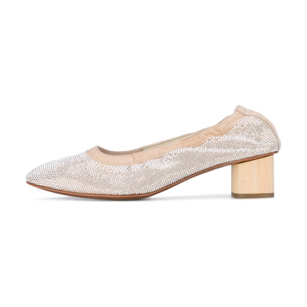 Beige Chunky Heels Round Toe Sequined Pumps image 1