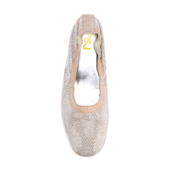 Beige Chunky Heels Round Toe Sequined Pumps image 4