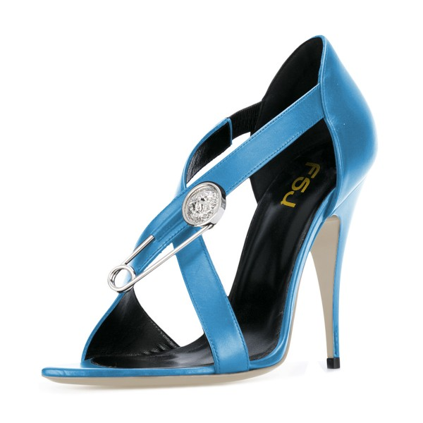Women's Light Blue Cross Over Pin Stiletto Heel Sandals 4 Inch Heels image 1