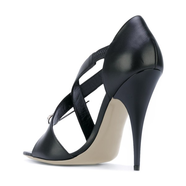 Women's Black Cross Over Pin Stiletto Heel Sandals Evening Shoes image 3