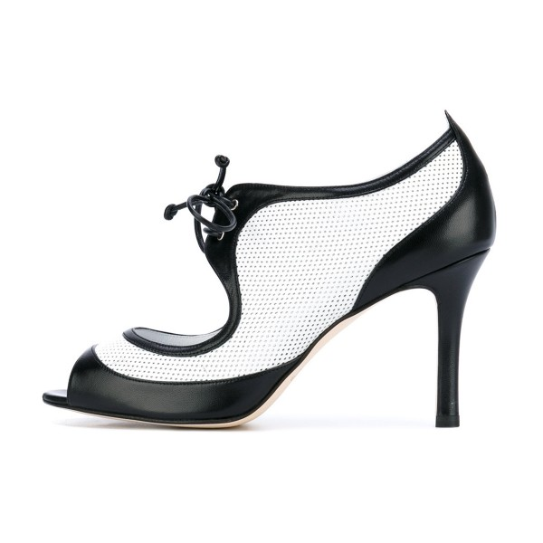 Women's Black and White Peep Toe Heels Lace Up Stiletto Heel Pumps image 2
