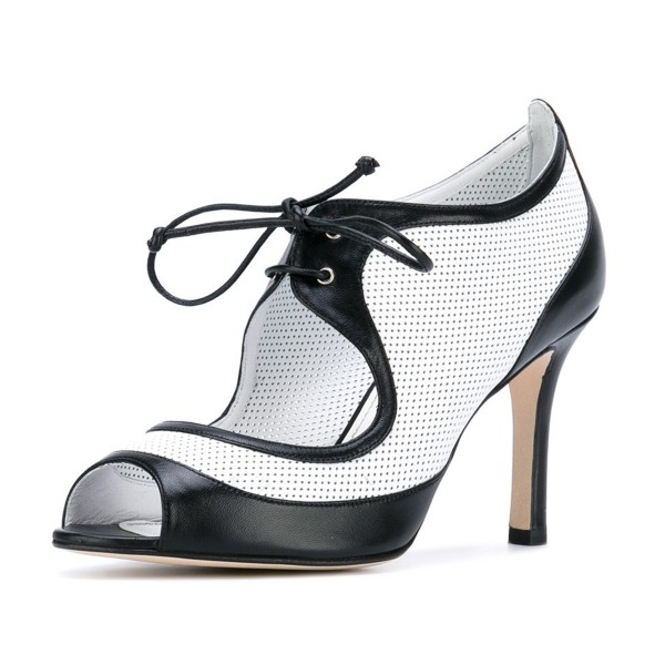 Women's Black and White Peep Toe Heels Lace Up Stiletto Heel Pumps image 1
