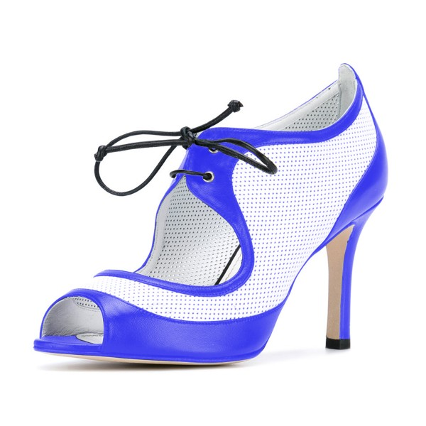 Women's Blue and White Peep Toe Heels Lace Up Stiletto Heel Pumps image 1