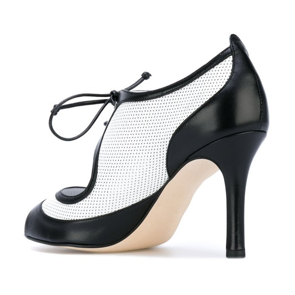 Women's Black and White Peep Toe Heels Lace Up Stiletto Heel Pumps image 3