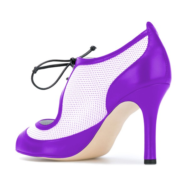 Women's Purple and White Peep Toe  Heels Lace Up Stiletto Heel Pumps image 3