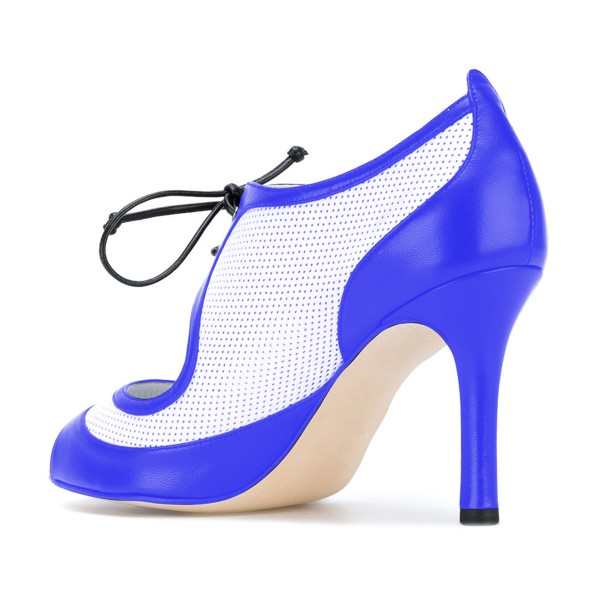 Women's Blue and White Peep Toe Heels Lace Up Stiletto Heel Pumps image 3