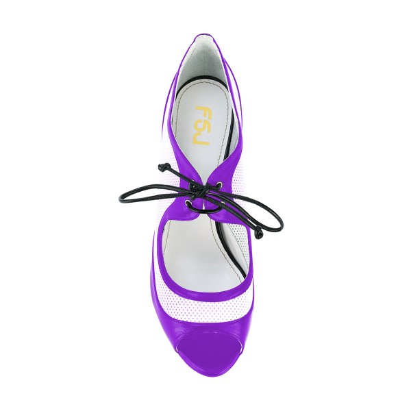 Women's Purple and White Peep Toe  Heels Lace Up Stiletto Heel Pumps image 4