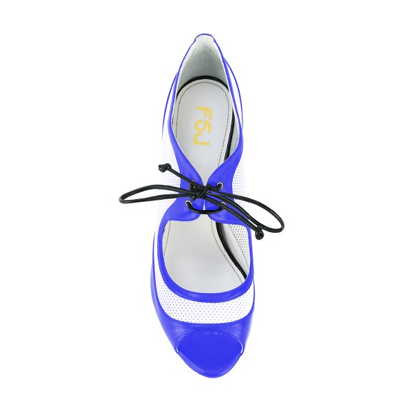 Women's Blue and White Peep Toe Heels Lace Up Stiletto Heel Pumps image 4