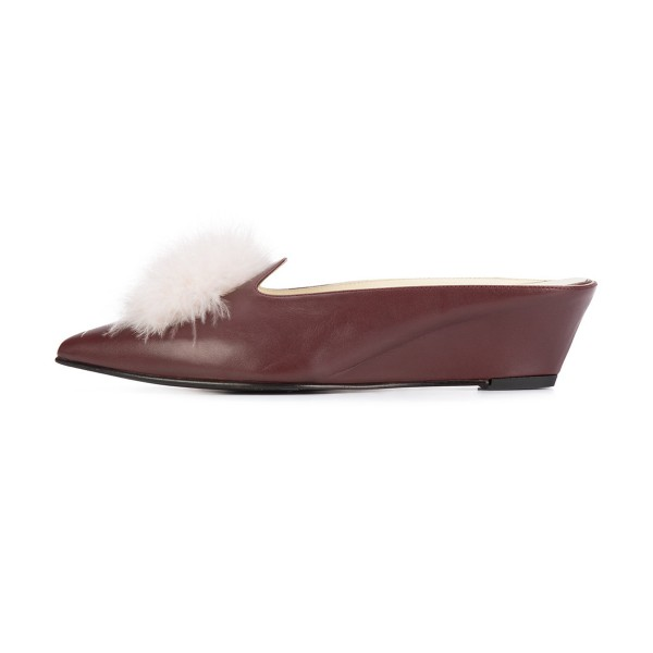 Maroon Closed Toe Wedges Fluffy Ball Mules by FSJ image 2