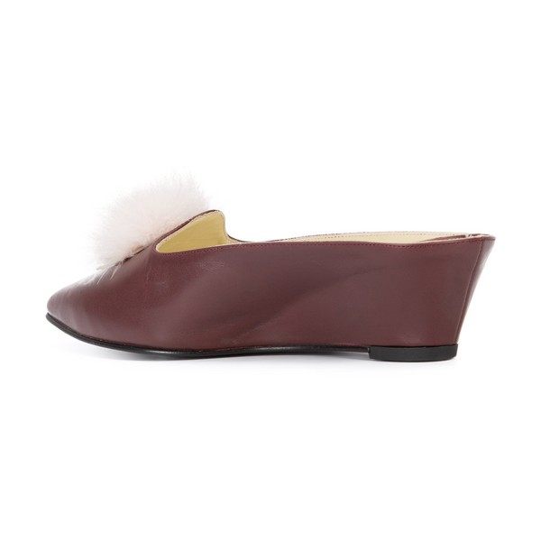 Maroon Closed Toe Wedges Fluffy Ball Mules by FSJ image 3