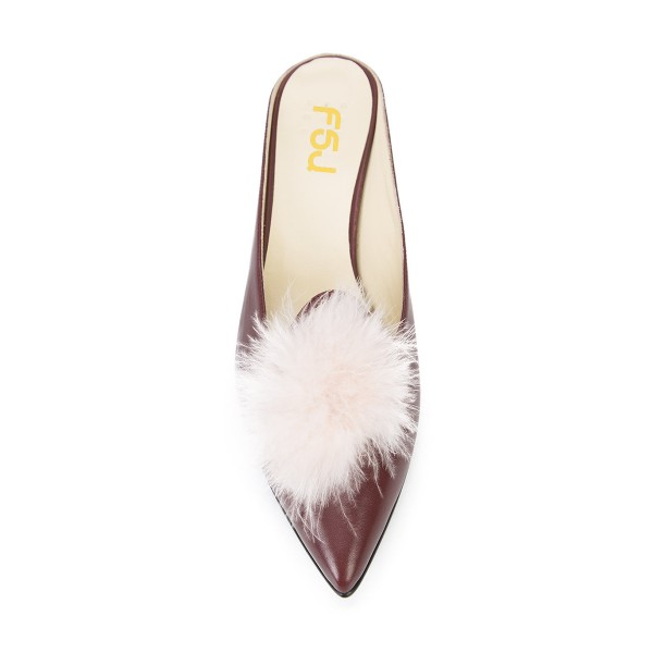 Maroon Closed Toe Wedges Fluffy Ball Mules by FSJ image 4