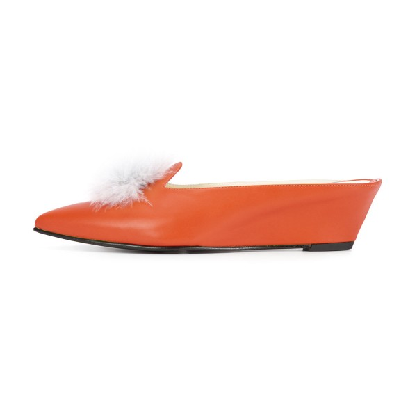 Orange Closed Toe Wedges Fluffy Ball Mules by FSJ image 2