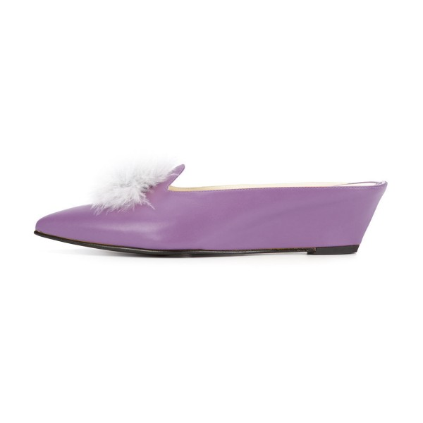Purple Closed Toe Wedges Fluffy Ball Mules by FSJ image 2