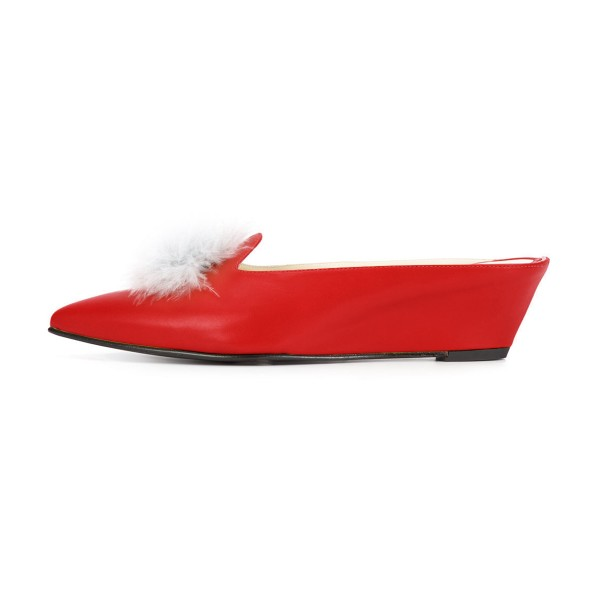 Red Closed Toe Wedges Fluffy Ball Mules by FSJ image 2
