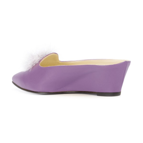 Purple Closed Toe Wedges Fluffy Ball Mules by FSJ image 3