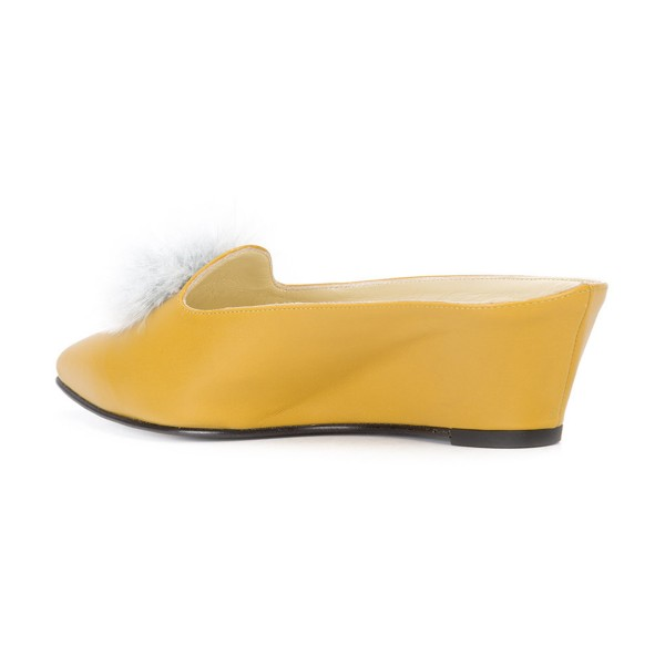 Yellow Closed Toe Wedges Fluffy Ball Mules by FSJ image 3