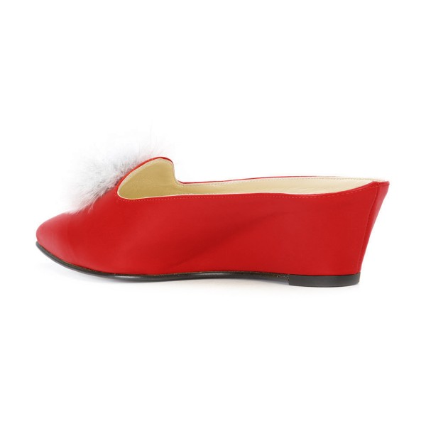 Red Closed Toe Wedges Fluffy Ball Mules by FSJ image 3