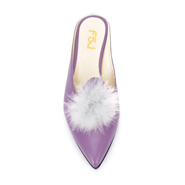 Purple Closed Toe Wedges Fluffy Ball Mules by FSJ image 4