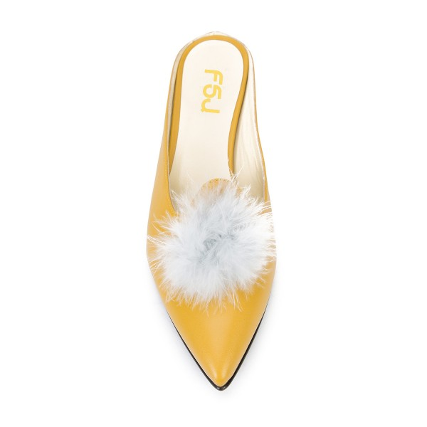 Yellow Closed Toe Wedges Fluffy Ball Mules by FSJ image 4