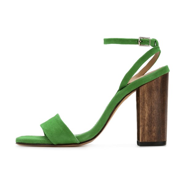 Women's Green Suede Block Heel Ankle Strap Sandals image 2