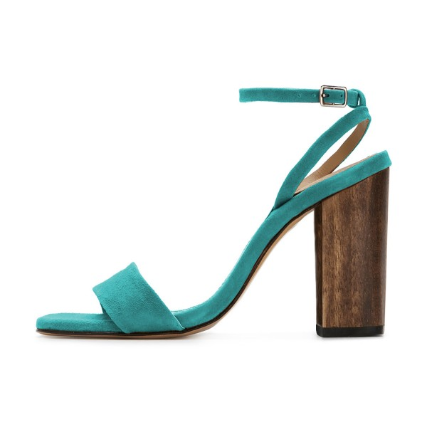 Women's Turquoise Suede Block Heel Ankle Strap Sandals image 2