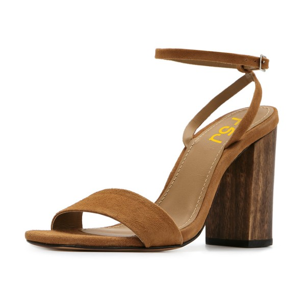 Women's Brown Suede Block Heel Ankle Strap Sandals  image 1