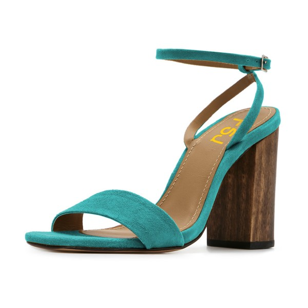 Women's Turquoise Suede Block Heel Ankle Strap Sandals image 1