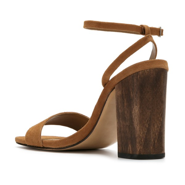 Women's Brown Suede Block Heel Ankle Strap Sandals  image 3