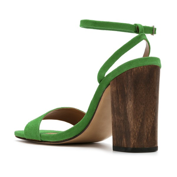 Women's Green Suede Block Heel Ankle Strap Sandals image 3