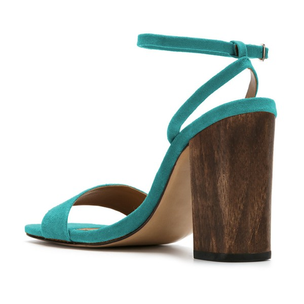Women's Turquoise Suede Block Heel Ankle Strap Sandals image 4