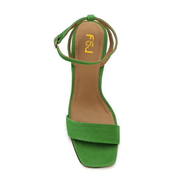 Women's Green Suede Block Heel Ankle Strap Sandals image 4