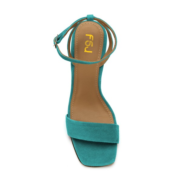 Women's Turquoise Suede Block Heel Ankle Strap Sandals image 5