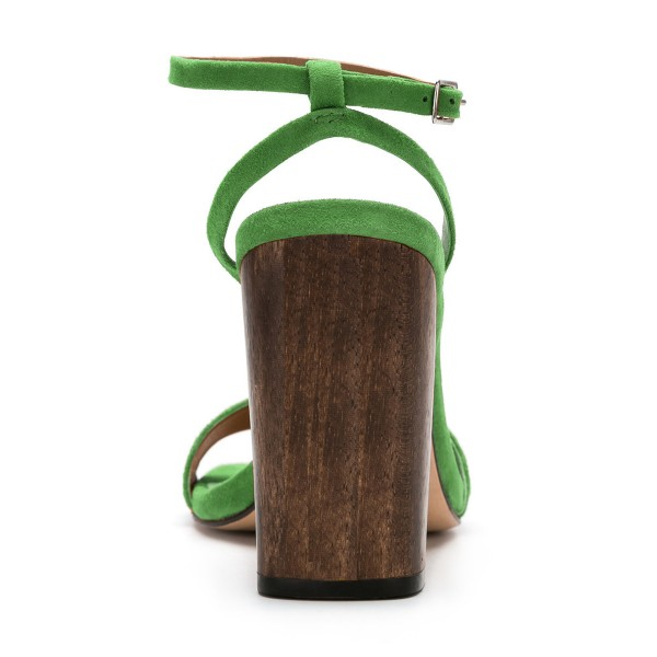 Women's Green Suede Block Heel Ankle Strap Sandals image 5