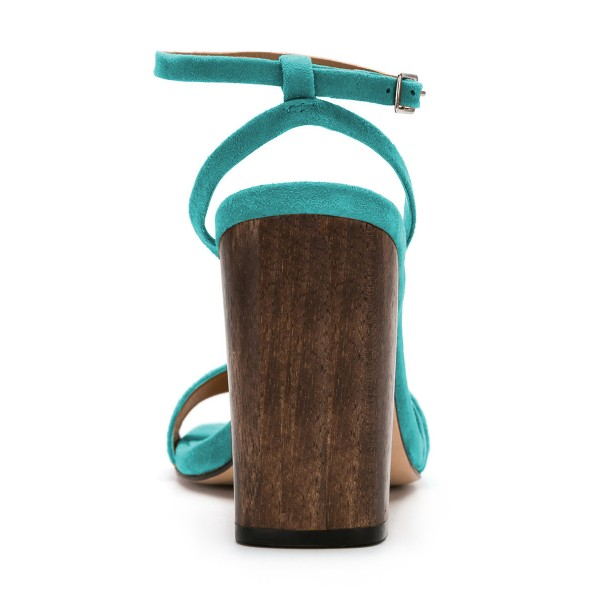 Women's Turquoise Suede Block Heel Ankle Strap Sandals image 6
