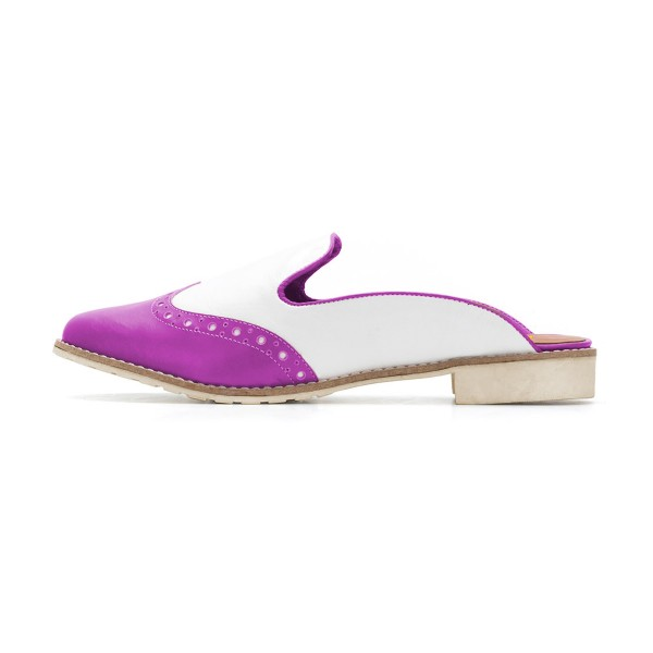 Women's Violet and White Chunky Heel Mule Sandals Vintage Shoes  image 2