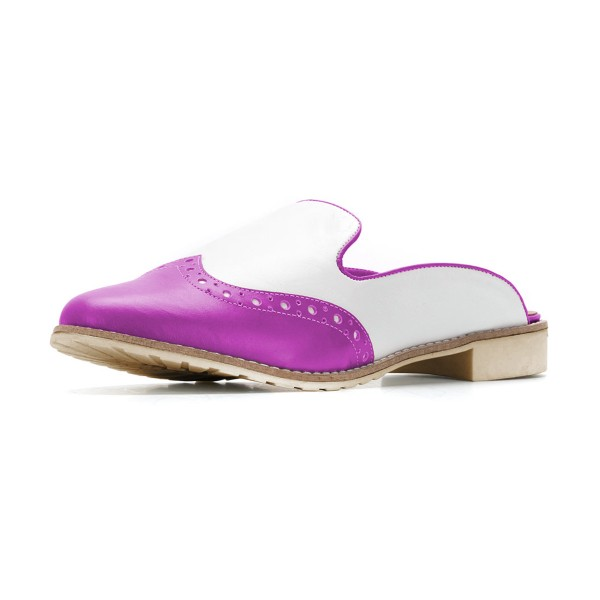 Women's Violet and White Chunky Heel Mule Sandals Vintage Shoes  image 1