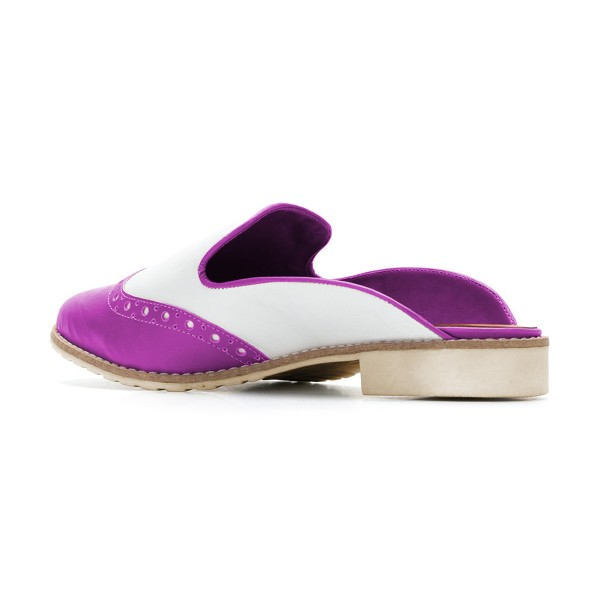Women's Violet and White Chunky Heel Mule Sandals Vintage Shoes  image 3
