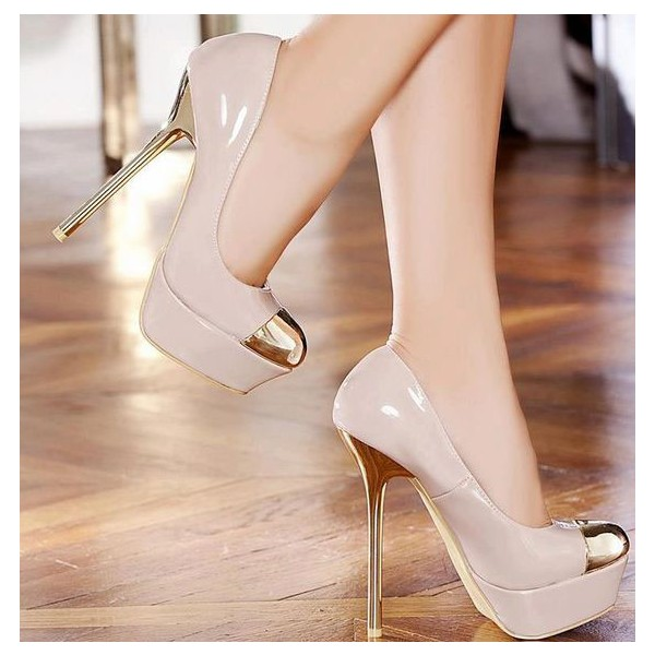 Women's Blush Gold Heels Dress Shoes Metal Toe Nude Platform Stiletto Heels Pumps image 2