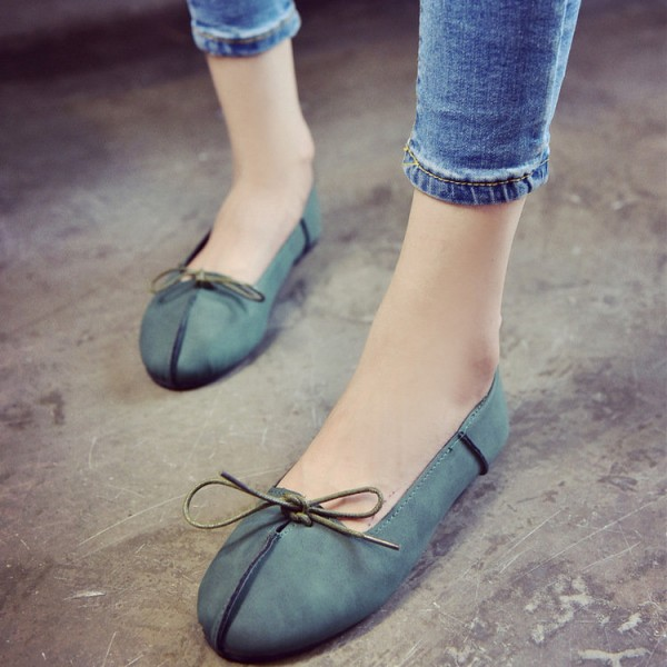 Women's Green Simple Bow Lace Up Comfortable Flats  image 2