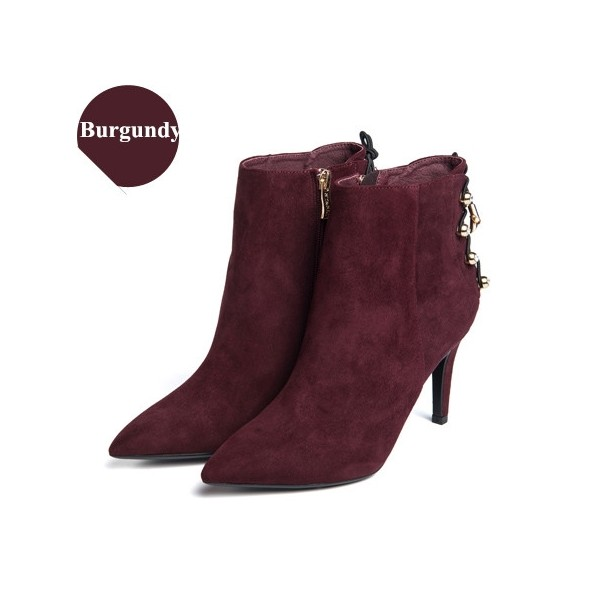 Women's Burgundy Suede Silver Studs Stiletto Heels Ankle Boots image 1