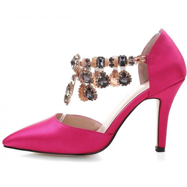 Hot Pink Satin Evening Shoes Jeweled Closed Toe Double D'orsay Pumps image 2