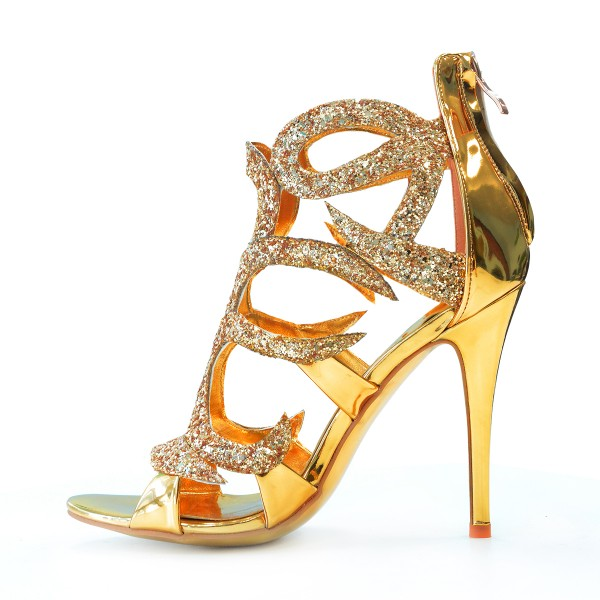Golden Caged Upper Stiletto Heel Sandals image 3