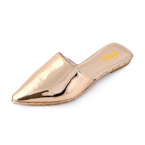 Women's Champagne Mirror Mule Comfortable Flats image 1