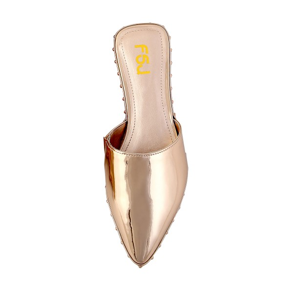 Women's Champagne Mirror Mule Comfortable Flats image 3