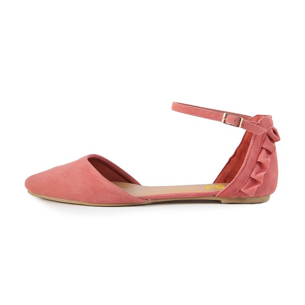 Blush Ruffle Pointy Toe Flats Ankle Strap Sandals image 2